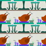 Turkey on dinner table seamless background design Royalty Free Stock Photo