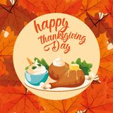 Turkey dinner of thanksgiving day with leafs royalty free illustration