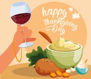 Turkey dinner of thanksgiving day with set icons stock illustration