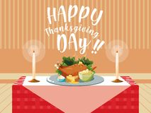 Turkey dinner of thanksgiving day in table royalty free illustration