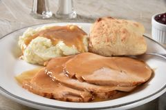 Free Turkey Dinner With Mashed Potatoes And Gravy Royalty Free Stock Photo - 130252775