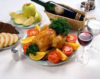 Turkey Dinner With Wine Stock Photo