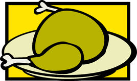 Turkey in a dish vector illustration Royalty Free Stock Photo