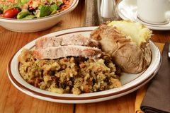 Turkey and dressing Royalty Free Stock Image