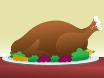 Turkey with dressing on table Royalty Free Stock Photo
