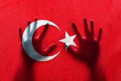Turkey droplet flag with person hands Royalty Free Stock Photography