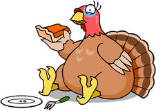 Turkey Eating Pie. A plump turkey eating a slice of pumpkin pie vector illustration