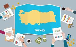 Turkey economy country growth nation team discuss with fold maps view from top. Vector illustration vector illustration