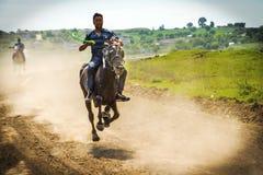 Turkey EDÄ°RNE. Running a horse race festival, people of color dust stock photos