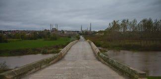 Turkey EDÄ°RNE. Turkey edirne Selimiye Mosque and view of Old Bridge royalty free stock photos