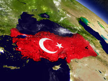 Turkey with embedded flag on Earth Royalty Free Stock Image