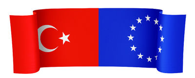 Turkey and EU. Illustration of the Turkey and EU flags on white background royalty free illustration