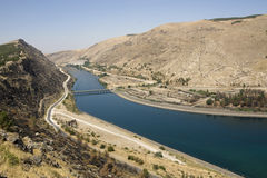 Turkey - Euphrates River at Ataturk Dam. Anatolia - (Turkish: Ataturk Barajı) -Built both to generate electricity and to irrigate the plains in the region Royalty Free Stock Photo