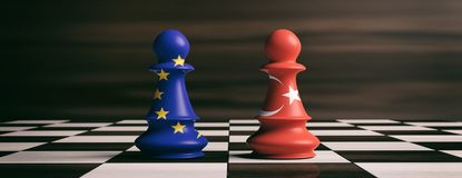 Turkey and European Union flags on chess pawns on a chessboard. 3d illustration. Turkey and EU cooperation concept.Turkey and European Union flags on chess pawns Stock Images