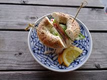 Turkey everything bagel sandwich Royalty Free Stock Images