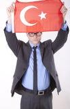 Turkey fan. Man holding flag of Turkey Stock Photos