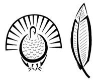 Turkey and Feather Royalty Free Stock Images