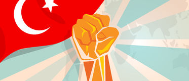 Turkey fight and protest independence struggle rebellion show symbolic strength with hand fist illustration and flag. Vector Royalty Free Stock Image