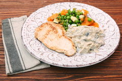 Turkey fillet with mushrooms in cream sauce and vegetables Stock Image