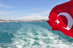 Turkey flag. On Dardanelles Strait stock image