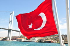 Turkey flag. On Dardanelles Strait stock images