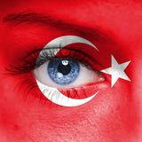 Turkey flag. On woman face royalty free stock image
