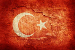 Turkey flag. Painted on old wooden background stock photos