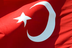 Turkey flag. As background, close up stock image