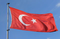 Turkey flag. Wind, blue sky stock photos
