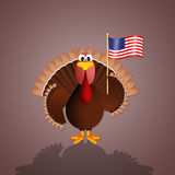 Turkey with flag of America Royalty Free Stock Images