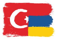 Turkey Flag & Armenia Flag Vector Hand Painted with Rounded Brush. This image is a vector illustration and can be scaled to any size without loss of resolution Stock Image