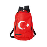 Turkey flag backpack isolated on white. Background. Back to school concept. Education and study abroad. Travel and tourism in Turkey royalty free stock photo