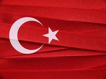 Turkey flag or banner. Made with red and white ribbons royalty free stock image