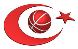 Turkey flag with basketball Royalty Free Stock Images
