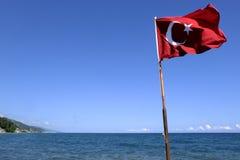 Turkey flag on a beach royalty free stock photos