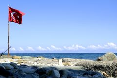 Turkey flag on a beach. In Turkey stock images