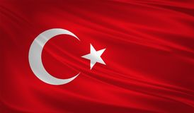 Turkey flag blowing in the wind. Background texture. 3d rendering, wave. vector illustration