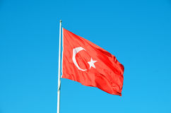 Turkey flag. With blue sky royalty free stock image
