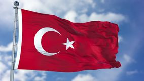 Turkey Flag in a Blue Sky. Use this clip loud and proud to express loyalty and love to our country. It is a seamless loop with luma channel royalty free stock photos