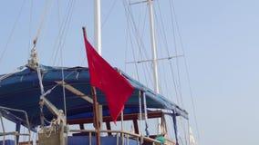 Turkey flag on boat. Marmaris June 2019. 4k stock footage
