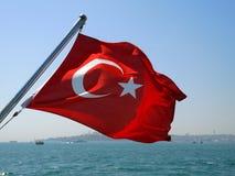 Turkey flag. Flag of Turkey in Bosphorus royalty free stock photos