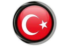 Turkey flag in the button pin Isolated on White Background Stock Image
