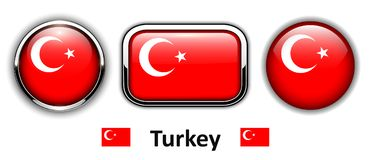 Turkey flag buttons Stock Photos