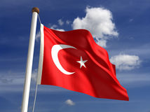 Turkey flag (with clipping path) royalty free stock image