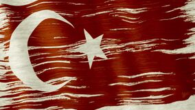 Turkey flag. Closeup of art brush watercolor painting Turkey flag blown in the wind stock video footage