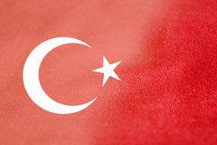 Turkey flag on cloth. Texture royalty free stock photography