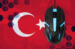 Turkey flag and computer mouse. Concept of country representing e-sports team. Turkey flag and modern backlit computer mouse. Concept of country representing e stock photos