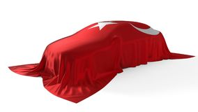 Turkey flag covered car concept. 3d illustration. Suitable for any smart car,auto pilot or electric car concept Stock Photo