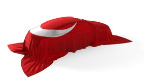 Turkey flag covered car concept. 3d illustration. Suitable for any smart car,auto pilot or electric car concept Royalty Free Stock Photography