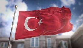 Turkey Flag 3D Rendering on Blue Sky Building Background vector illustration